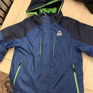 Boys 10/12 Blue Coat with Neon Green Detail
